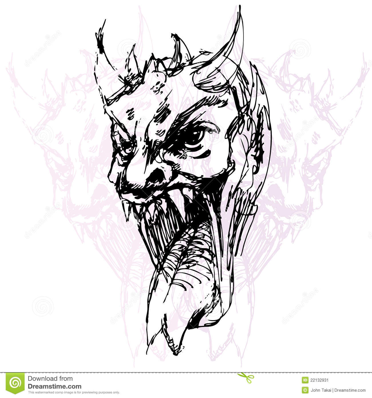 Demon Face Drawing Stock Vector. Illustration Of Graphic