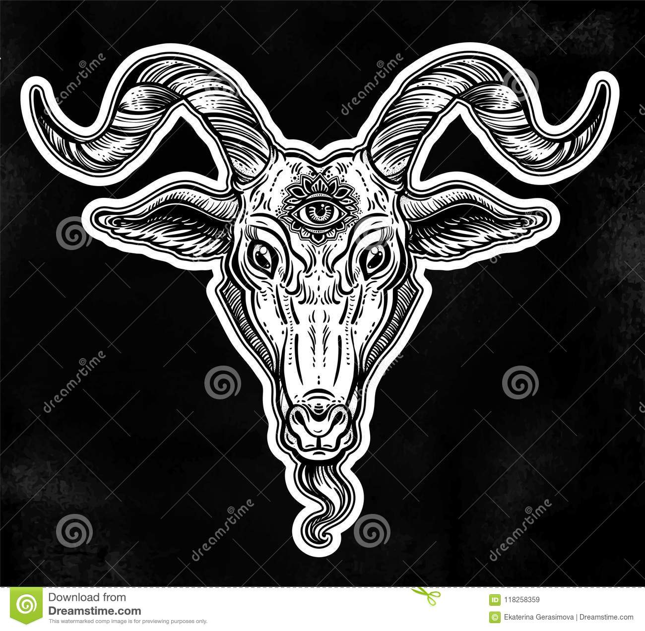 8456d13b537be Satanic goat head. Binary satanic symbol. Vector illustration . Tattoo  design, retro, music, summer, print symbol for biker black metal themes.