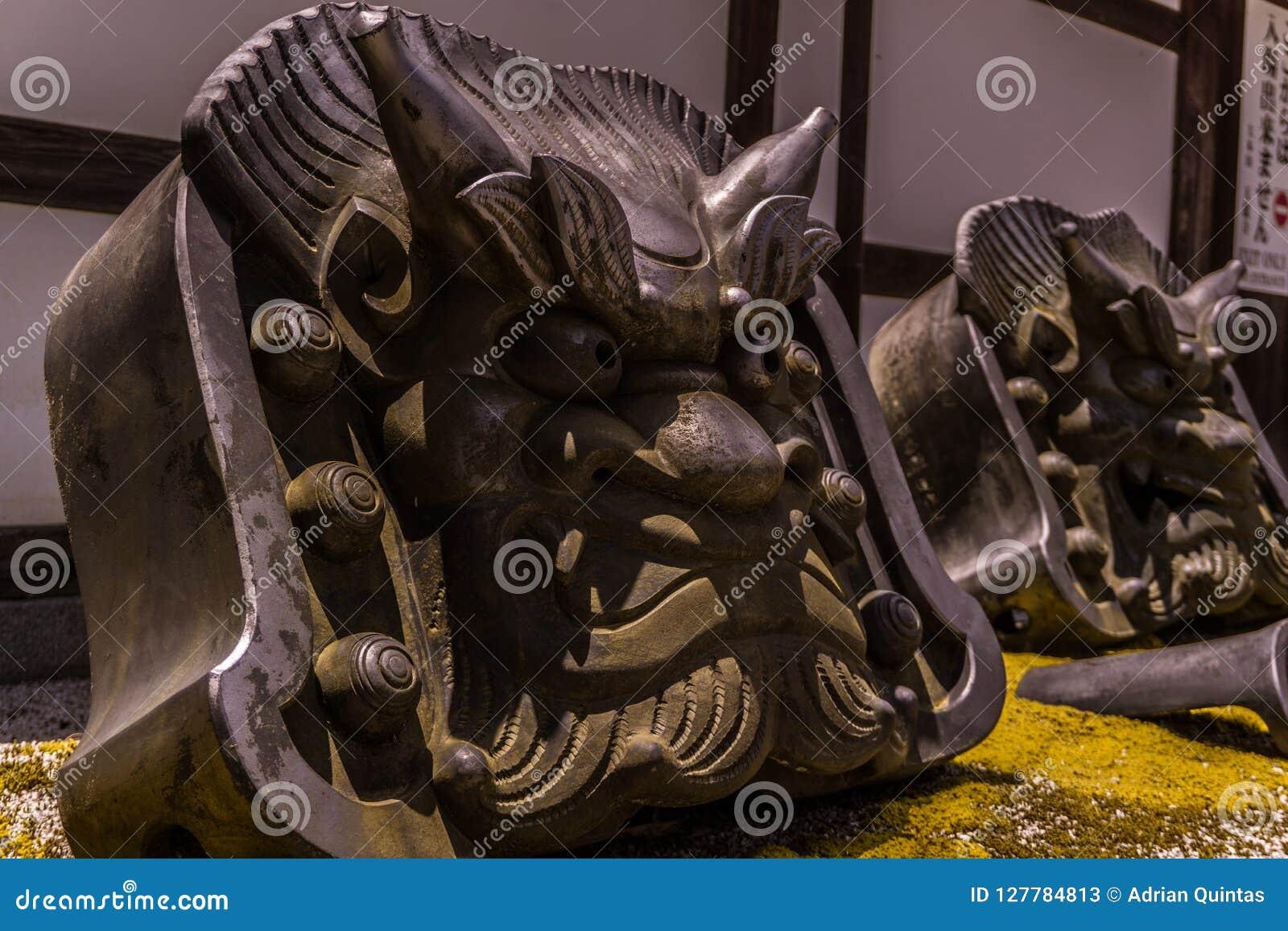 Demon oni stones protectors of the temple