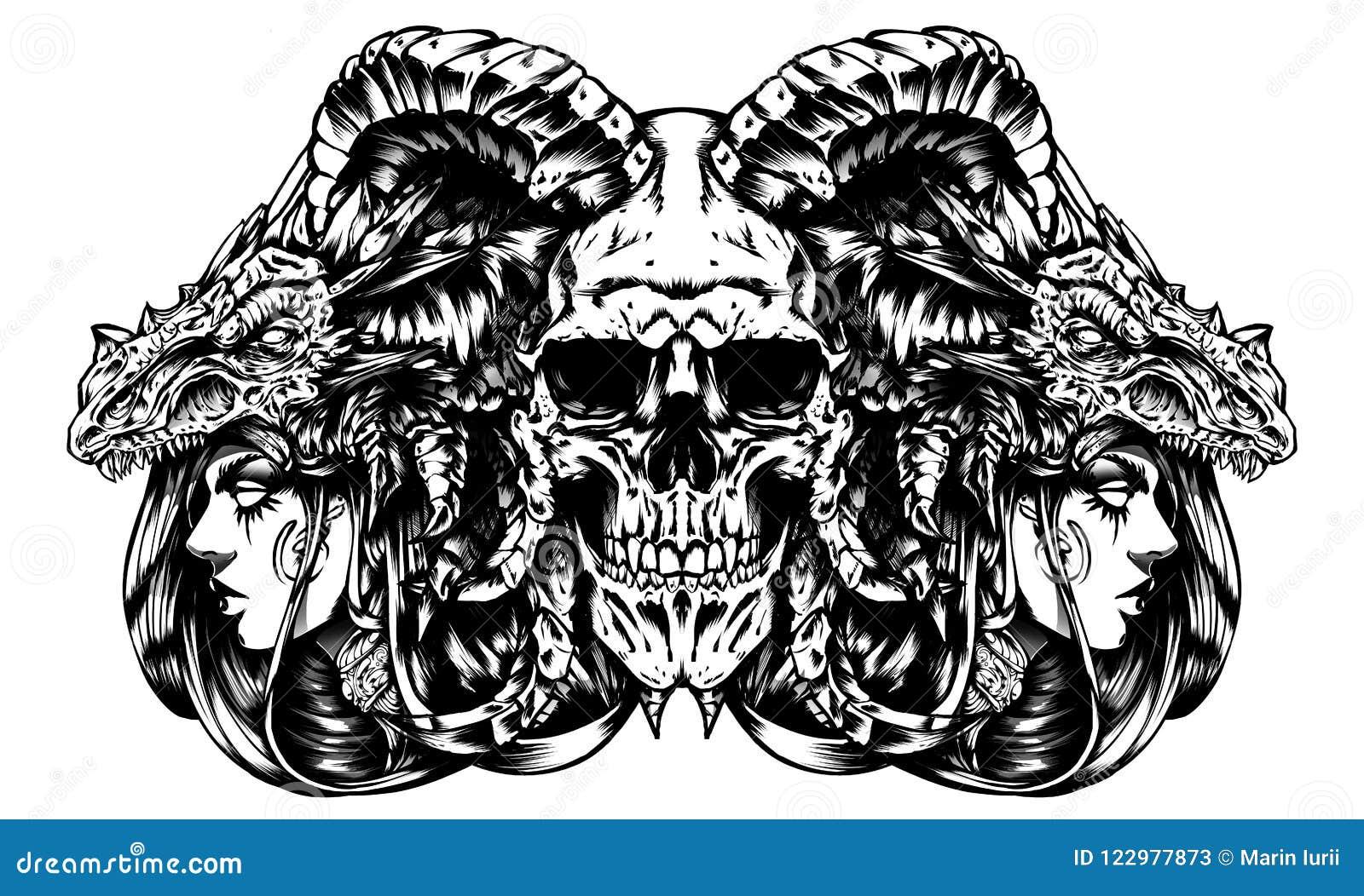 demon skull with witches dark art stock illustration illustration