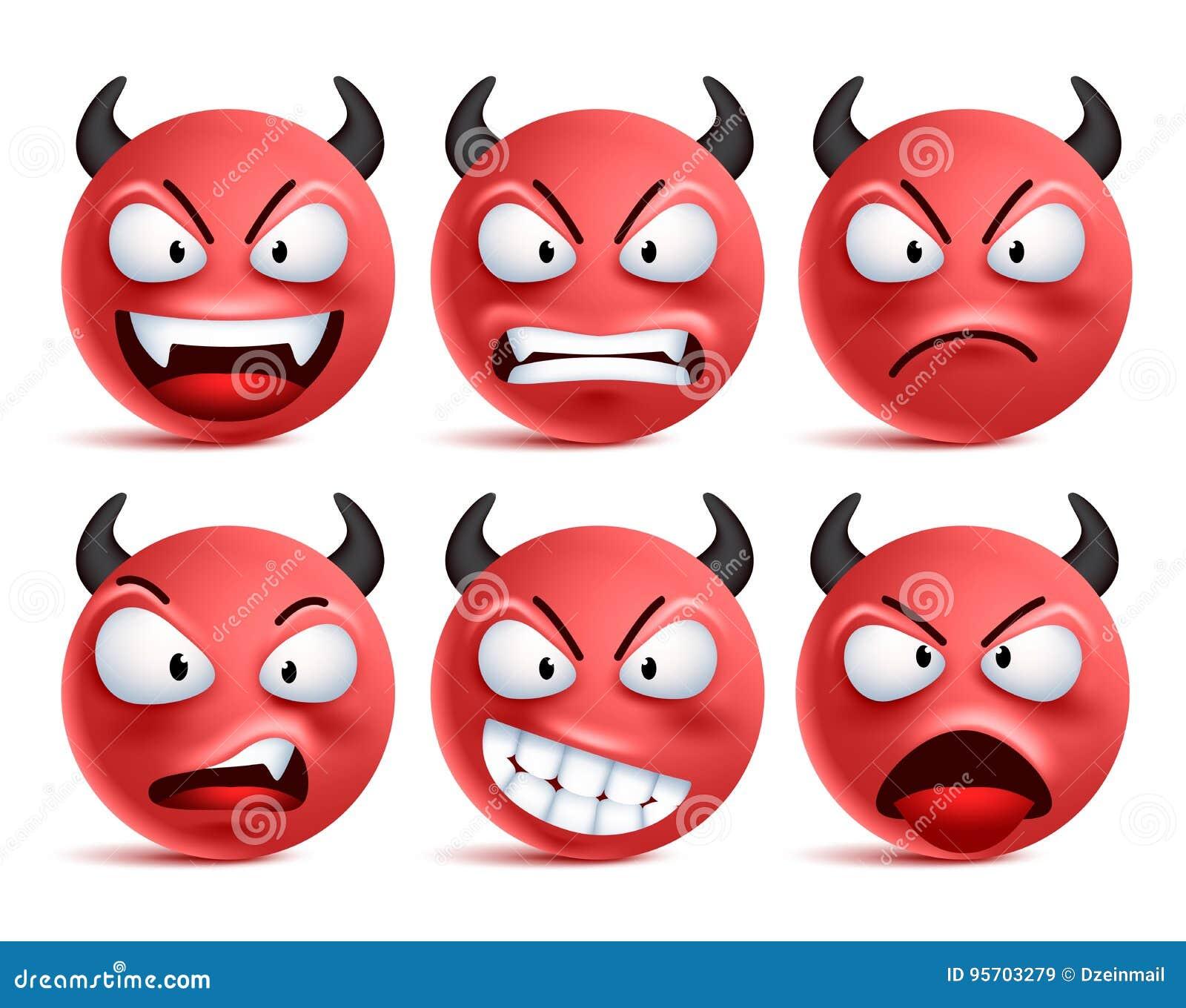 Demon smileys vectorreeks Het slechte gezicht van duivelssmiley of rode emoticons met gelaatsuitdrukkingen
