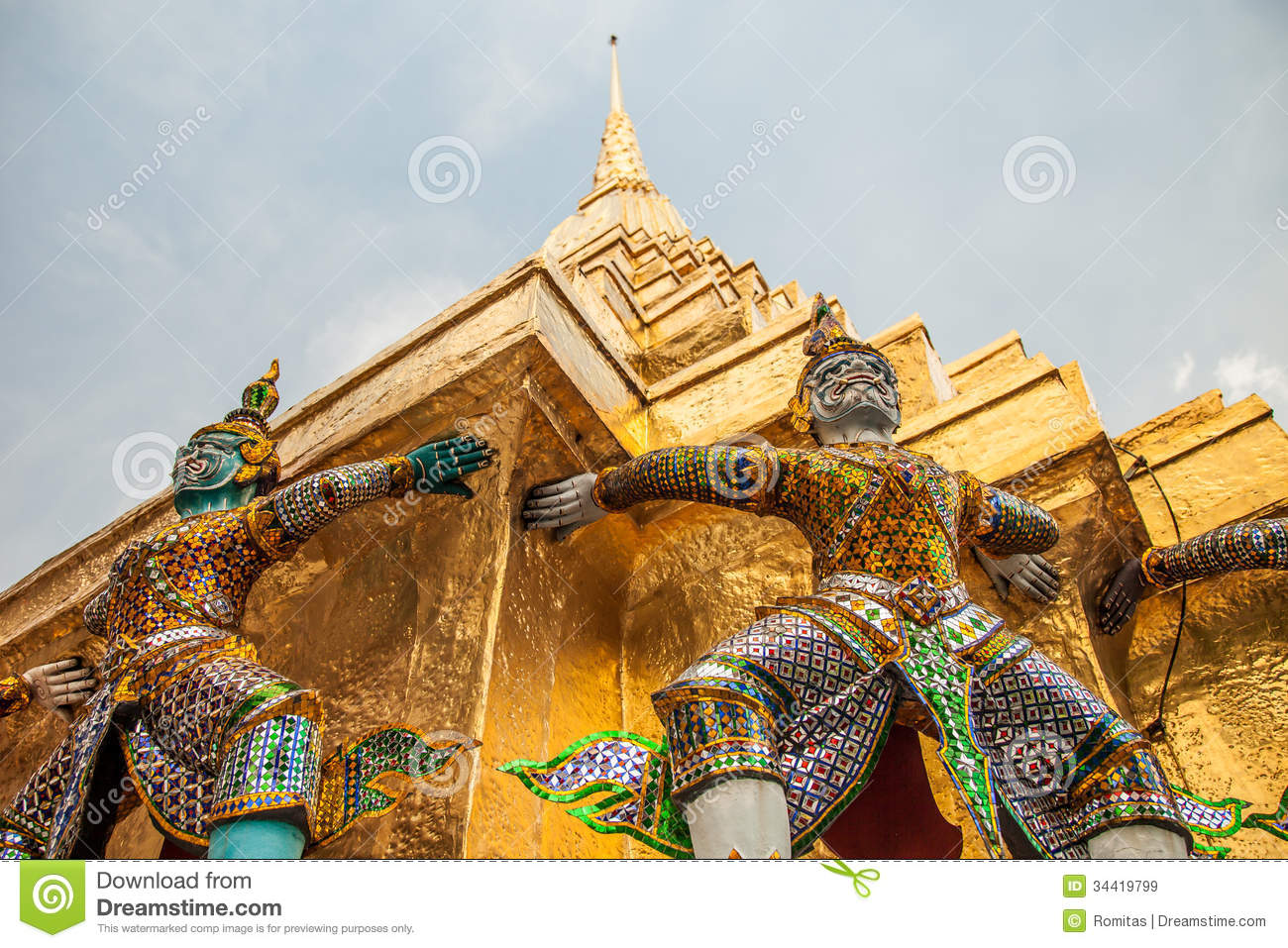 Demon Statues At Wat Phra Kaew In Grand Palace Bangkok Stock Image