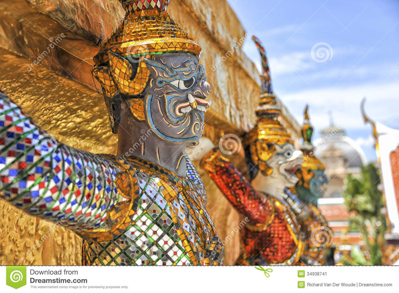 Demon guard of Wat Phra Kaew Grand Palace Bangkok