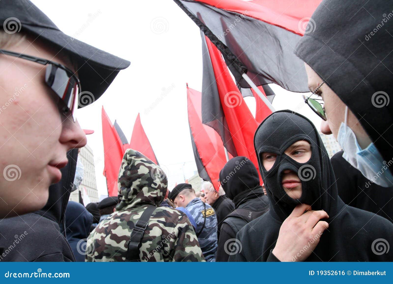 Demonstrações dos anarquistas em Moscovo.