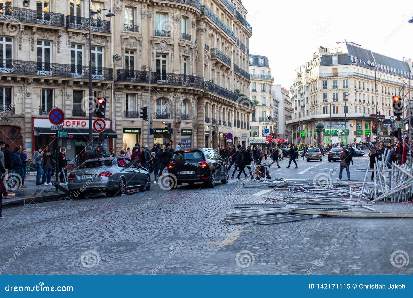 Demonstracja «Gilets Jaunes w Paryż, Francja