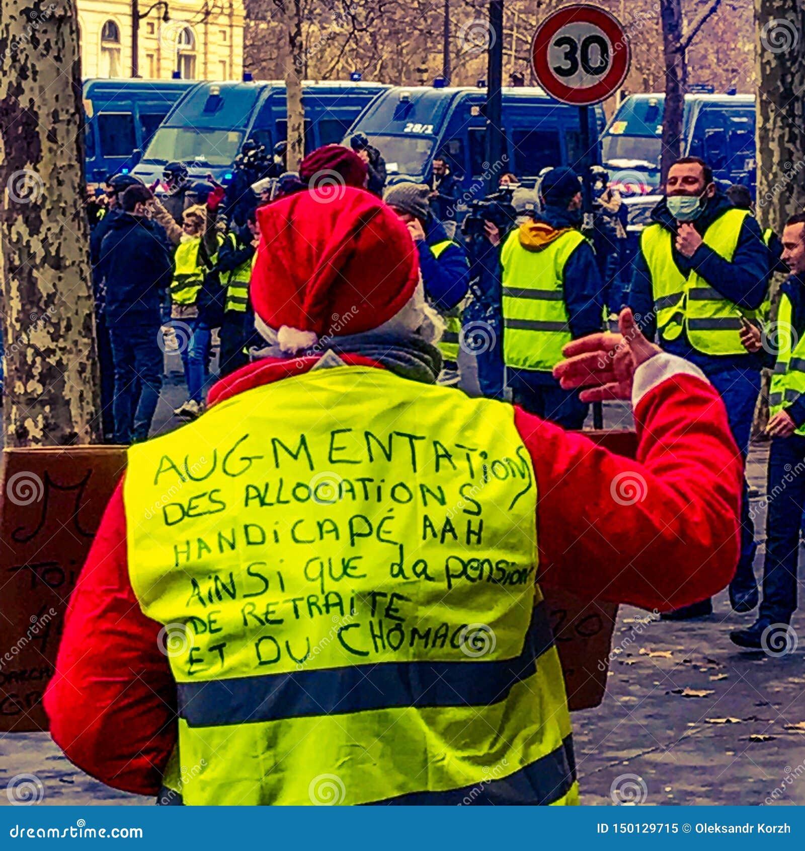Demonstratiesystemen tijdens een protest in gele vesten