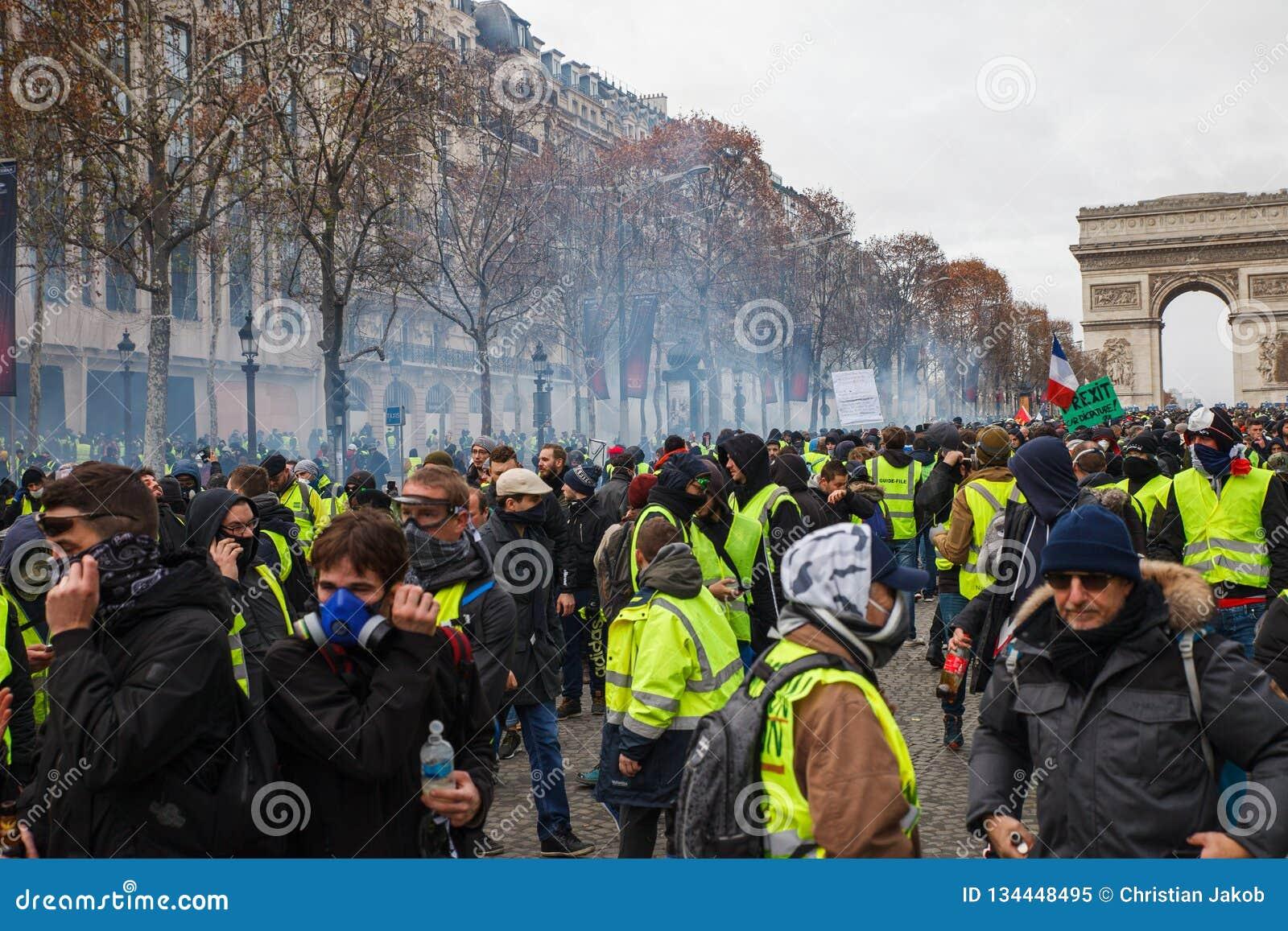 Demonstration of `Gilets Jaunes` in Paris, France