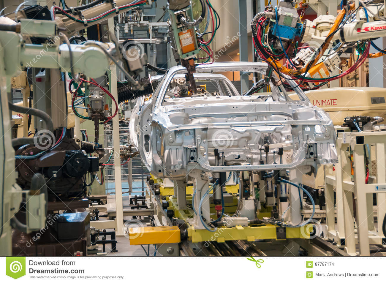 Demonstration Of Robot Welding On A Car Assembly Line Editorial