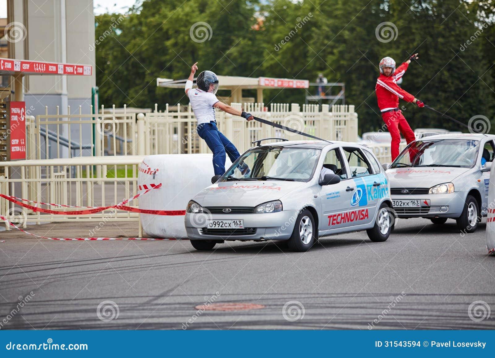 Demonstrative performance of members from stuntmen team