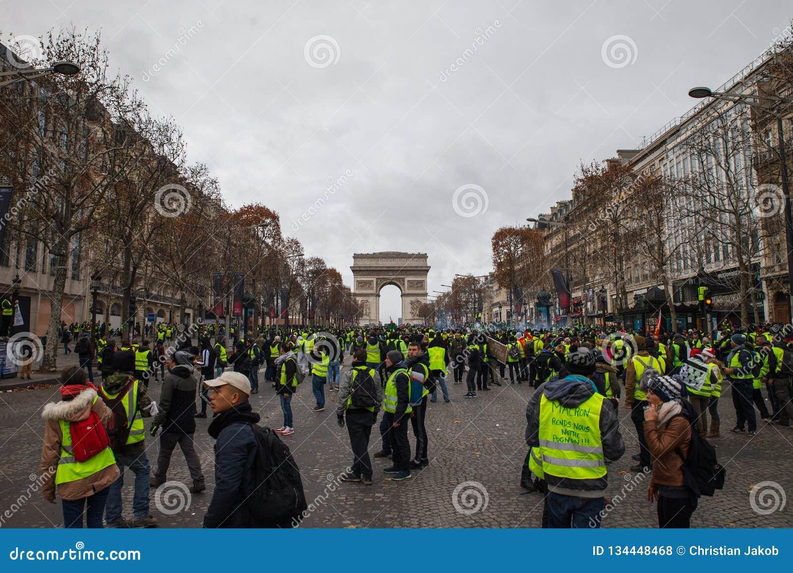 Demostración de 'Gilets Jaunes en París, Francia