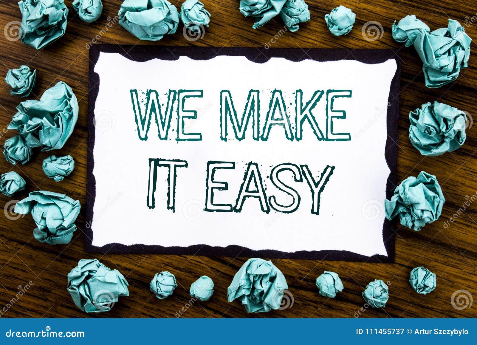 Demostración del texto del aviso de la escritura la hacemos fácil Concepto del negocio para la solución de la calidad de la ayuda