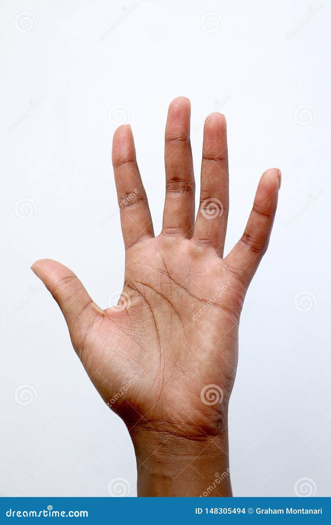 Demostración india africana negra número cinco, palma de la mano de la mano