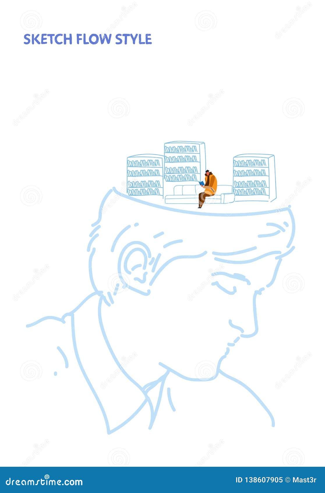 Den öppna manstudenten för det mänskliga huvudet läser boken som sitter på utbildning för modernt arkiv för soffa inre som det id