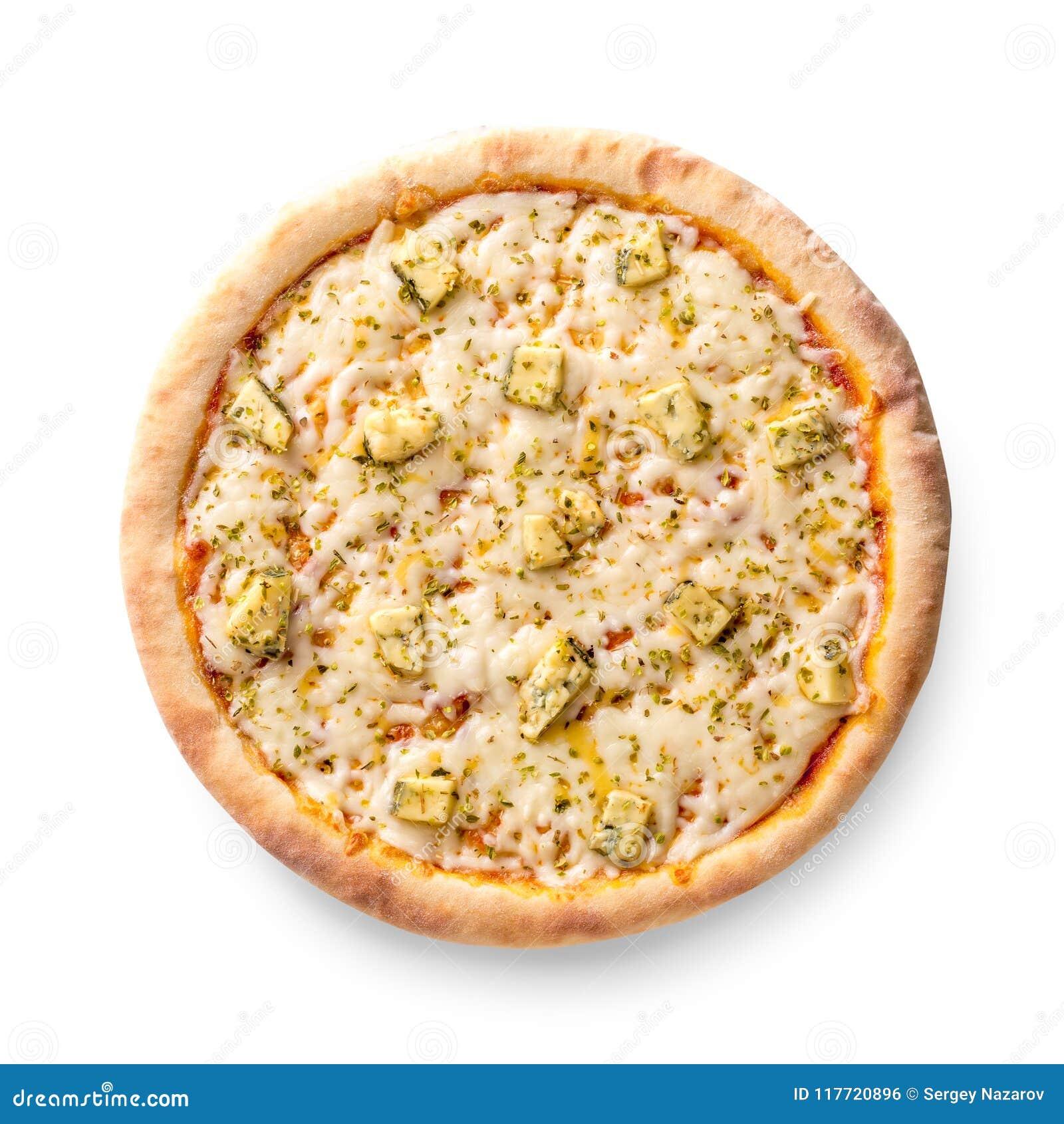 Den över huvudet sikten som isolerades på vit av en helhet bakade nytt, läcker italiensk pizza för fyra ostar på vit bakgrund