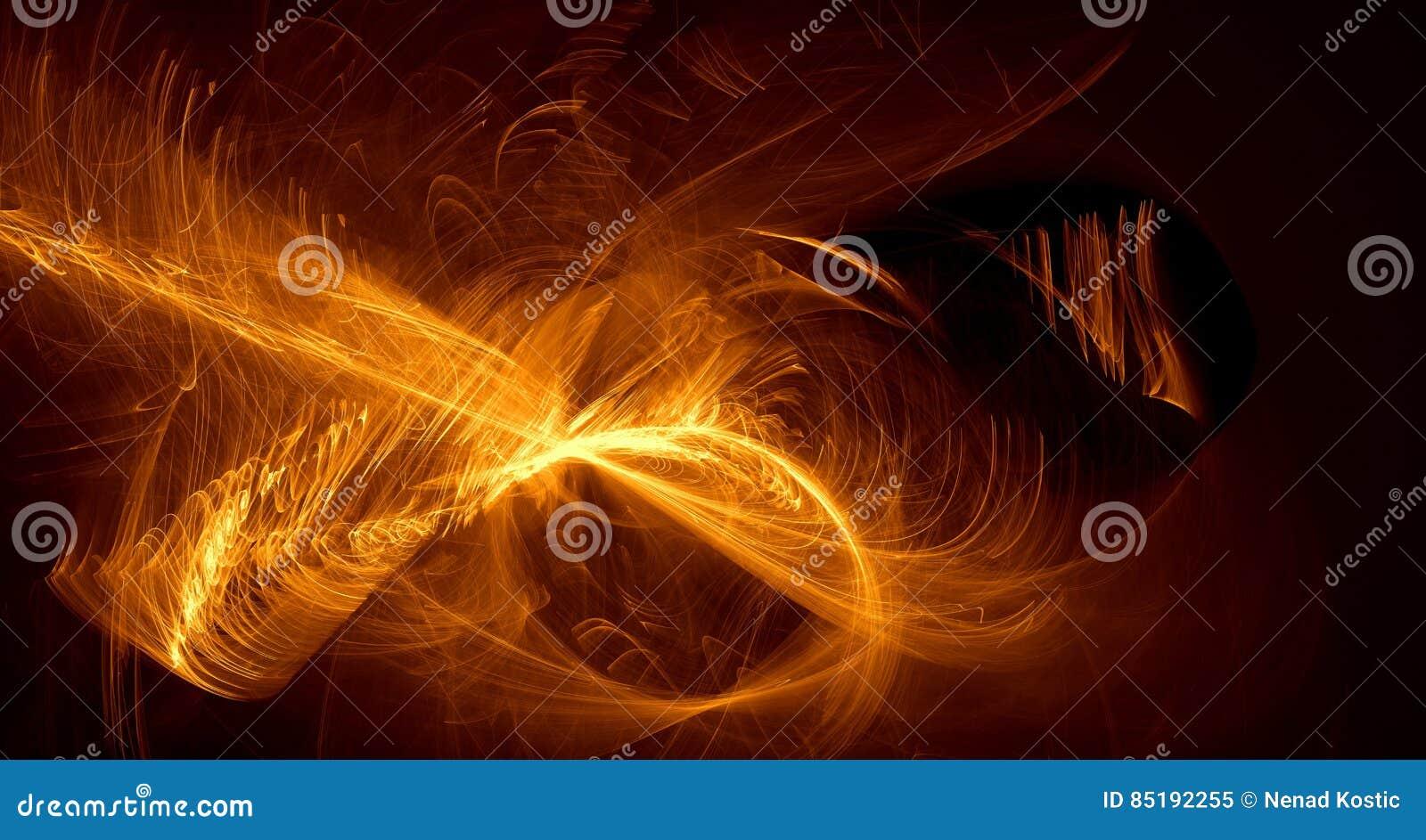 Den abstrakta apelsinen, guling, guld- ljus glöder, strålar, former på mörk bakgrund