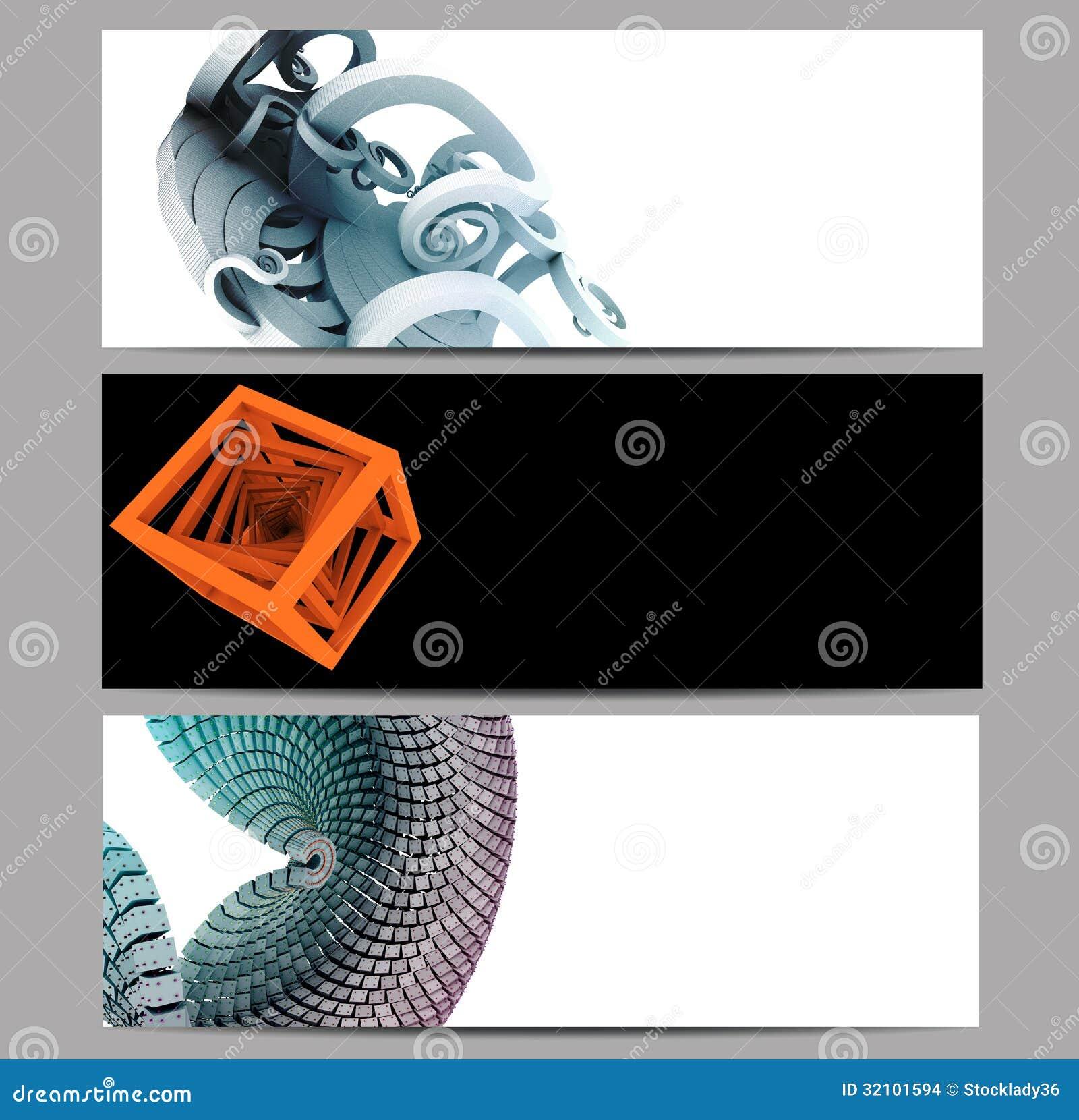 Den abstrakta baneruppsättningen som förskönas med 3D, framför