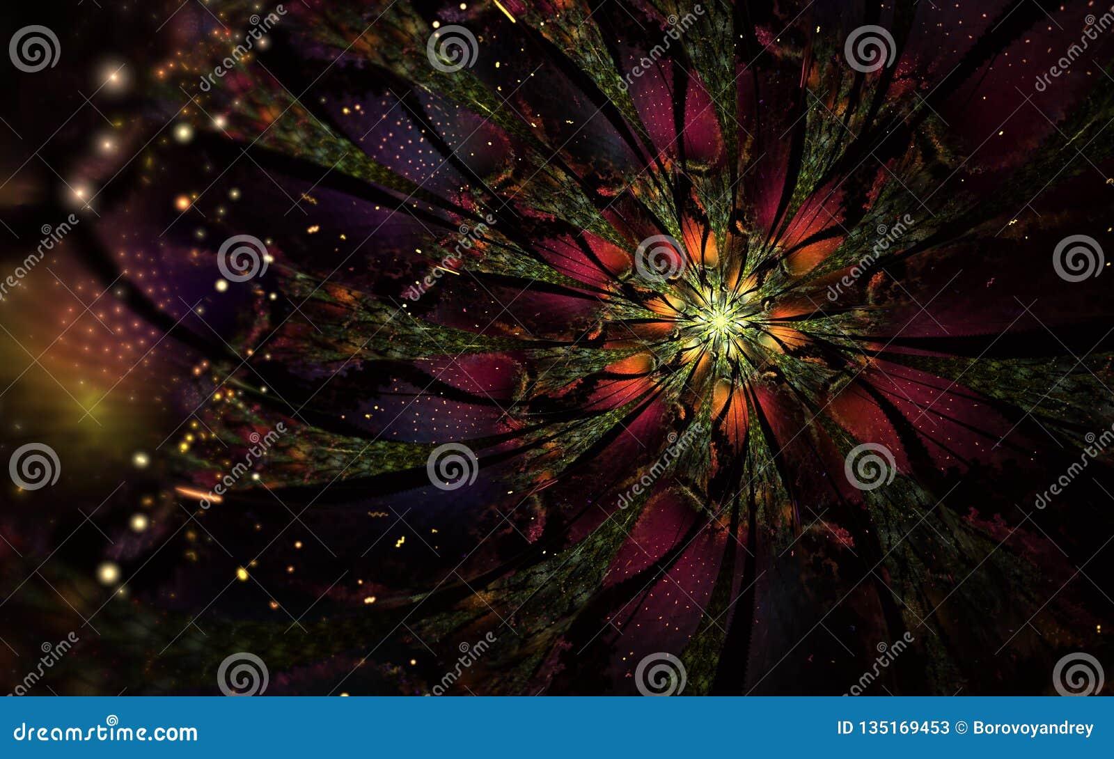 Den abstrakta datoren frambragte fractalblommadesign Digital konstverk för minnestavlabakgrund, skrivbords- tapet eller för idéri