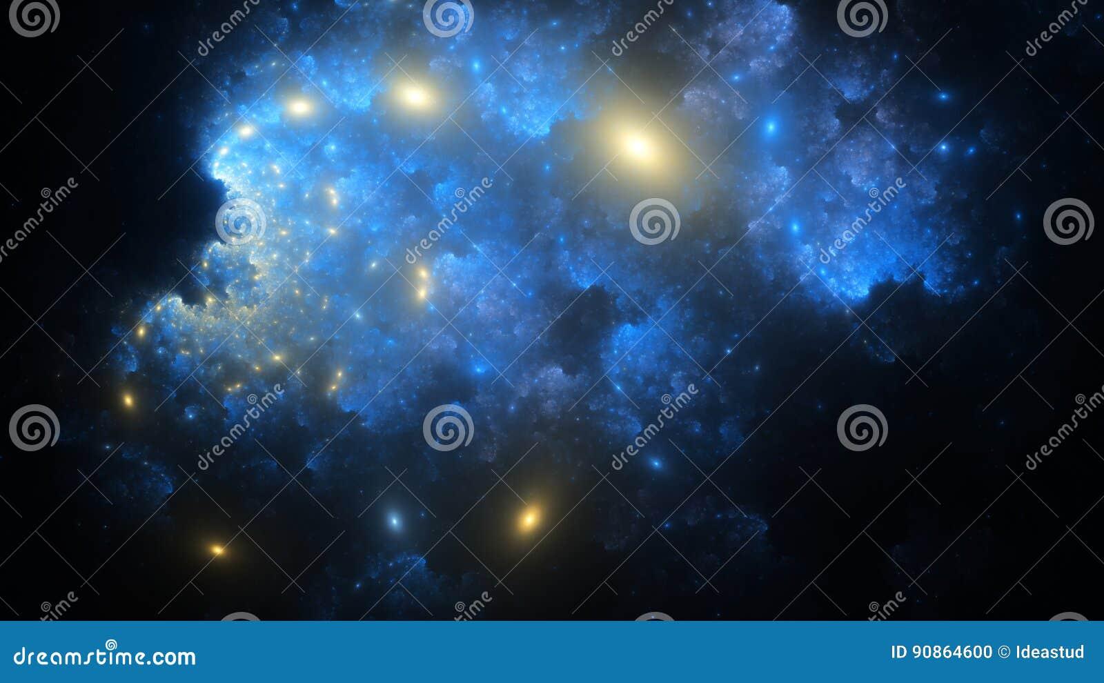 Den abstrakta fractalillustrationen ser som galaxer