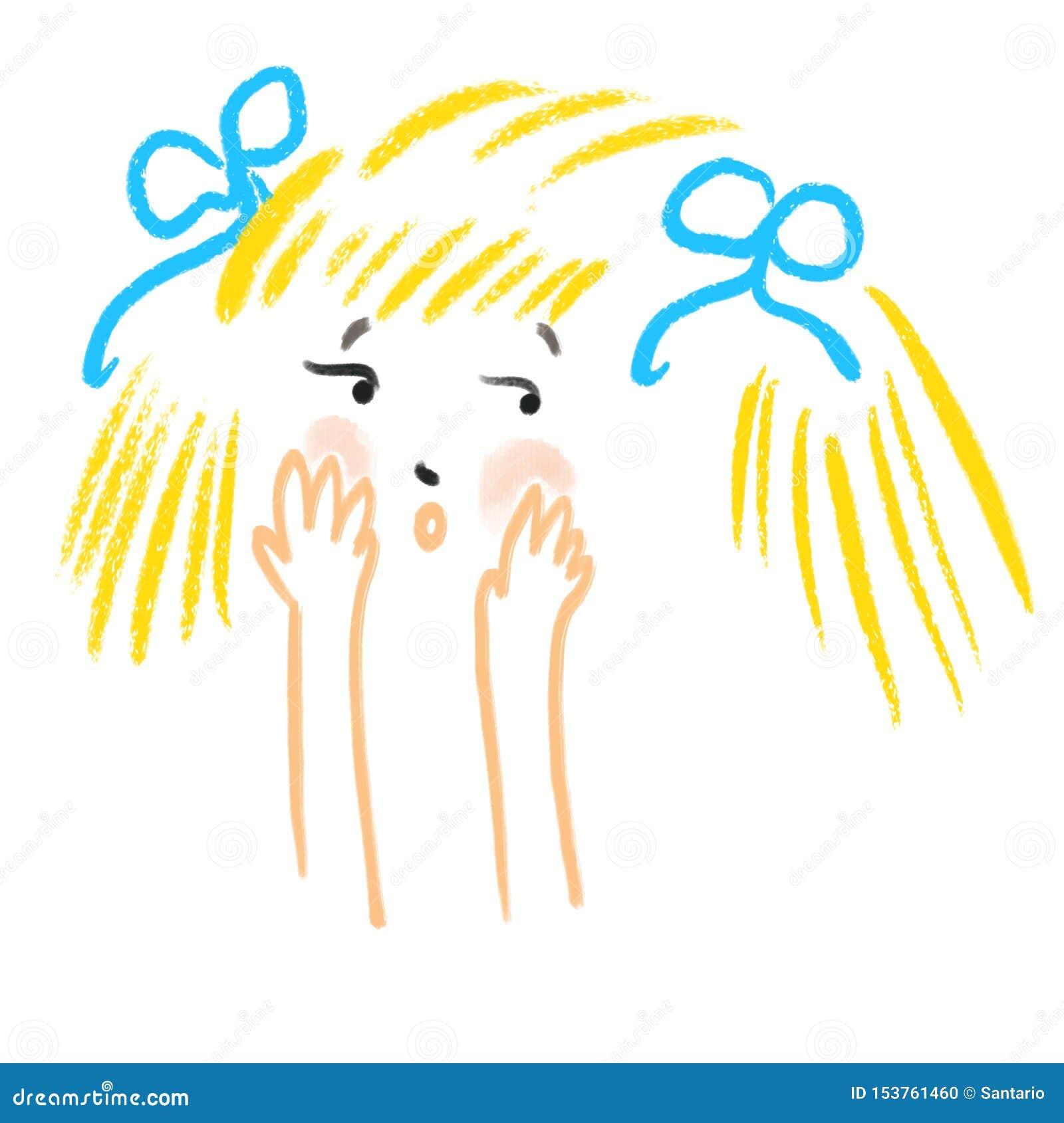Den abstrakta generade lilla flickan täcker hennes framsida med hennes händer Mänskliga sinnesrörelser, skrämsel, besvär