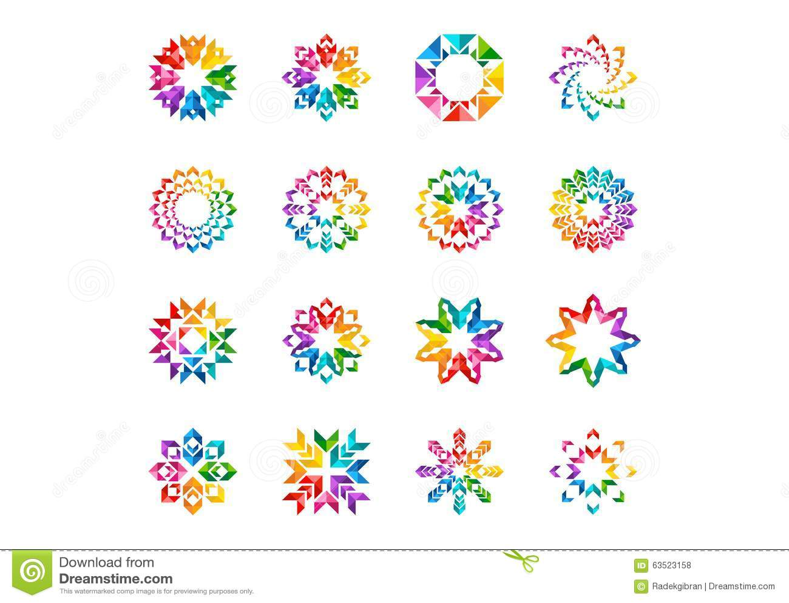 Den abstrakta moderna beståndsdellogoen, cirkelregnbågeblommor, uppsättningen av runt blom-, stjärnor, pilar och vektorn för sols