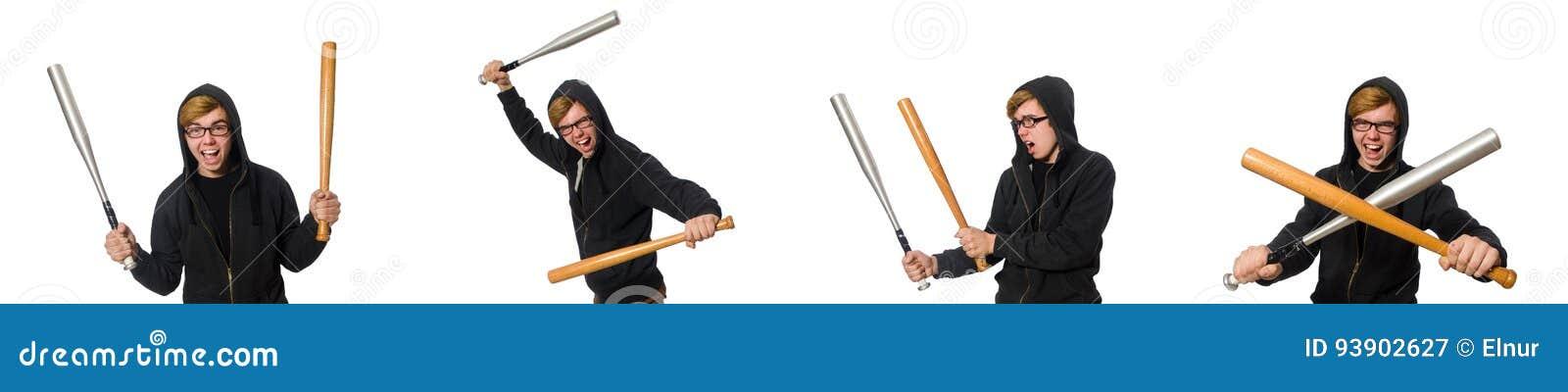Den aggressiva mannen med baseballslagträet som isoleras på vit