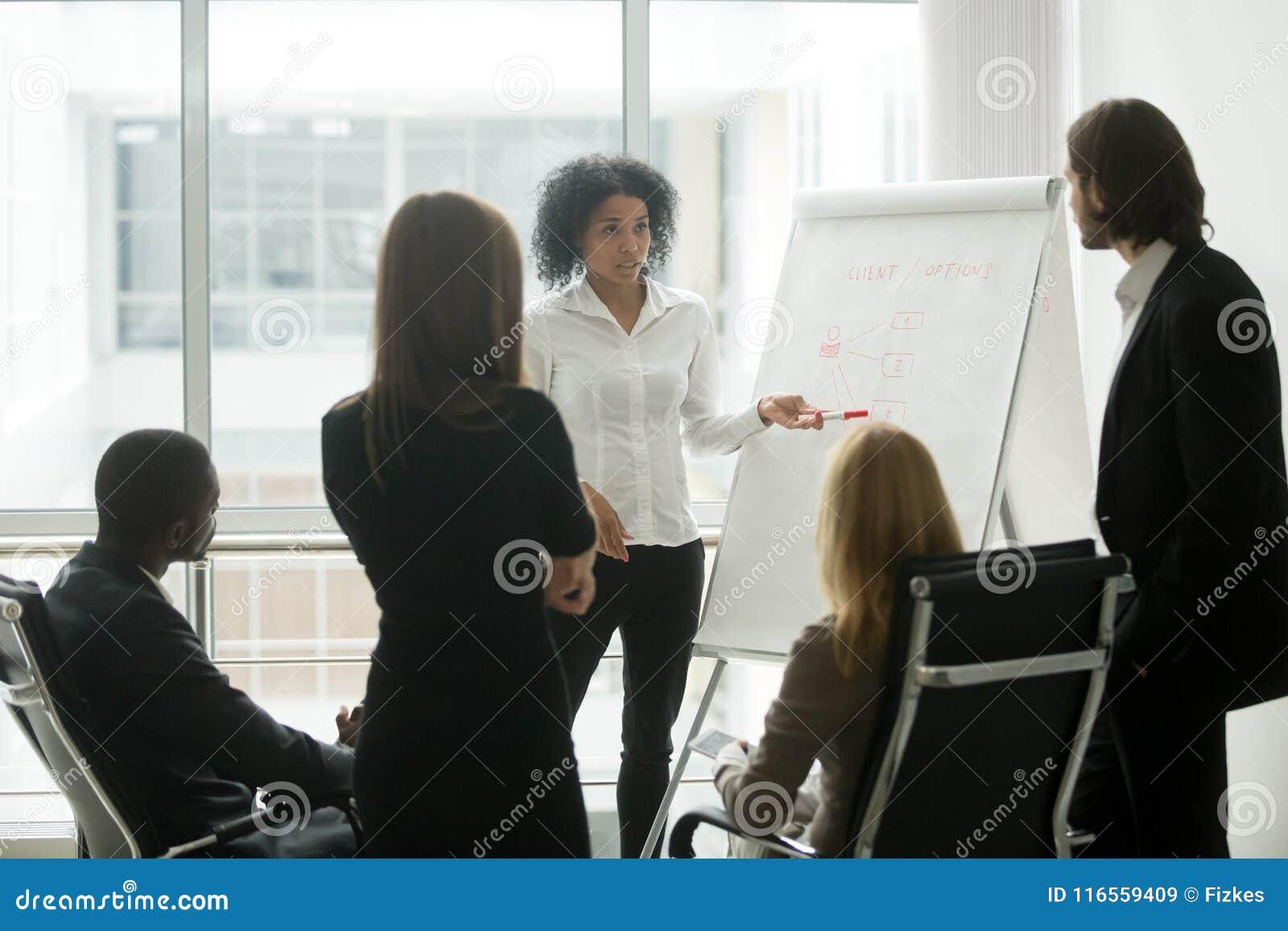 Den allvarliga afrikanska kvinnliga ledaren ger presentation på försäljningslag M