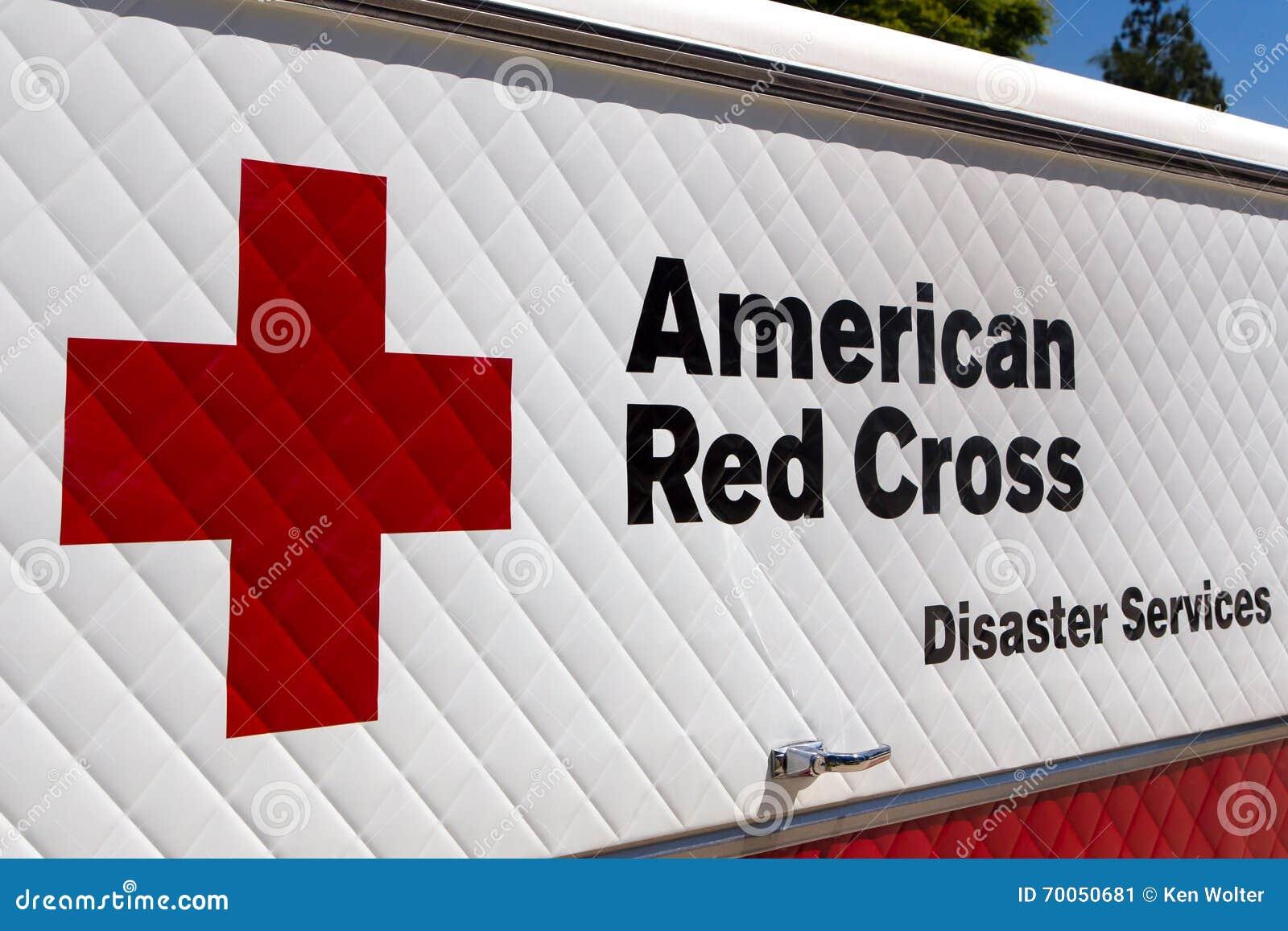 Den amerikanska Röda korsetkatastrofen servar medlet och logo