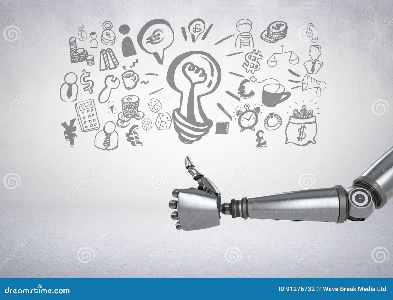 Den Android handen tummar upp med grafiska teckningar för affären