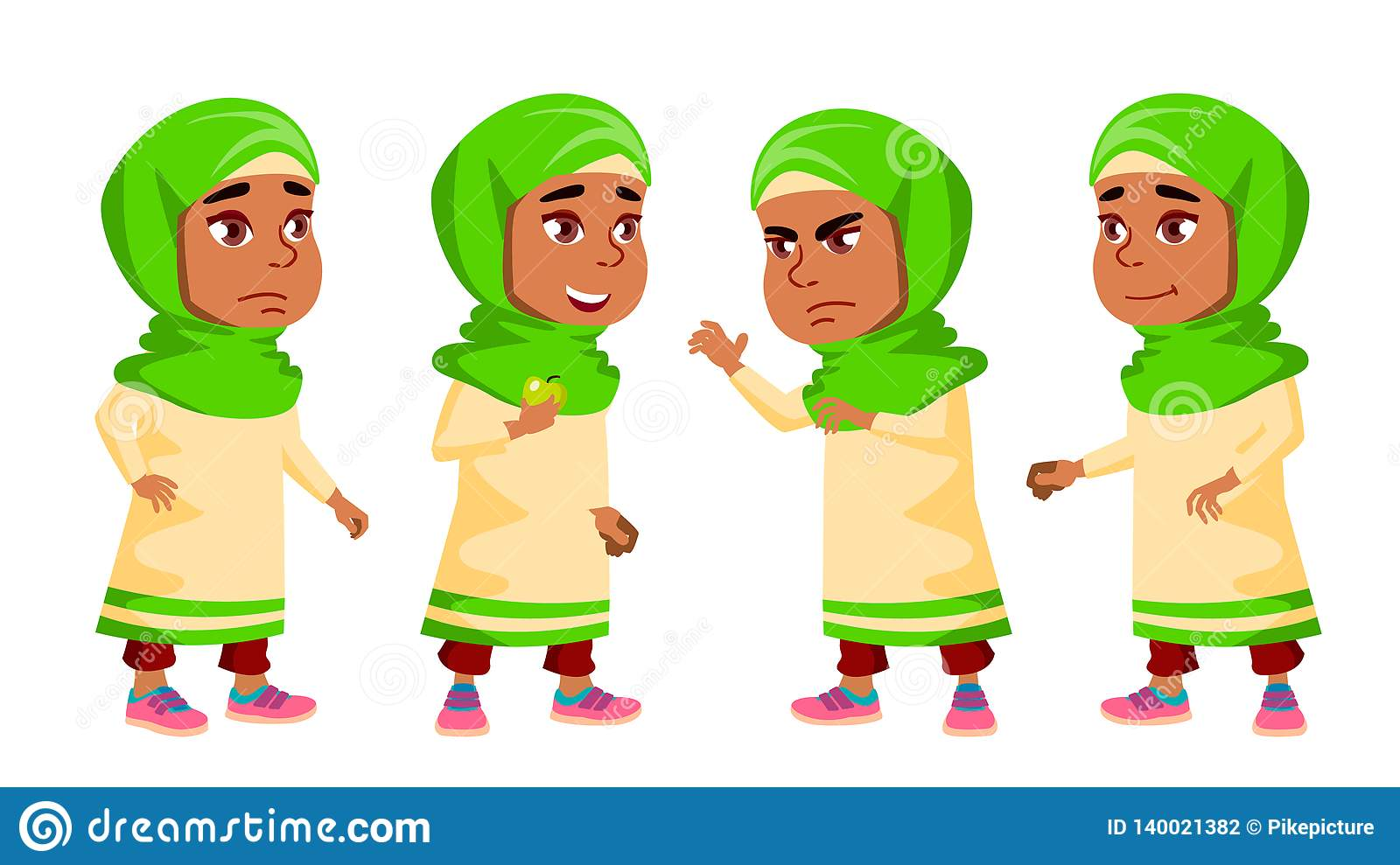 Den arabiska muslimska flickadagisungen poserar den fastställda vektorn Vänliga små barn Gulligt komiker För rengöringsduk brosch