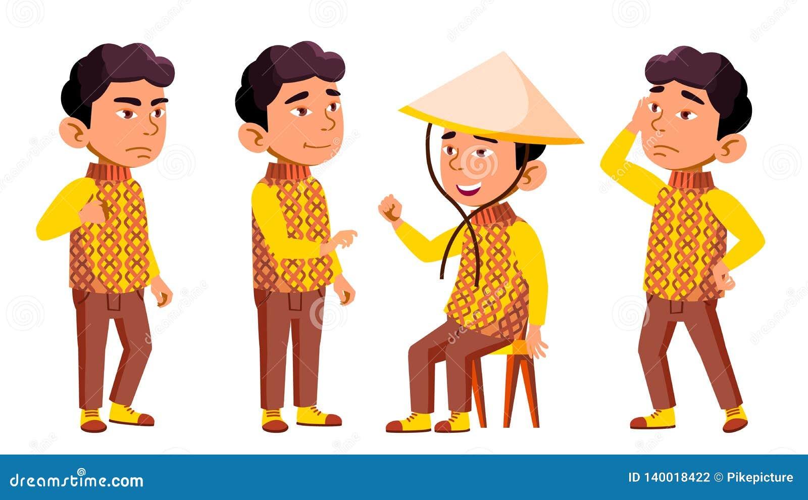 Den asiatiska pojkedagisungen poserar den fastställda vektorn Festival drake Spela för tecken barnsligt Tillfälligt bekläda för