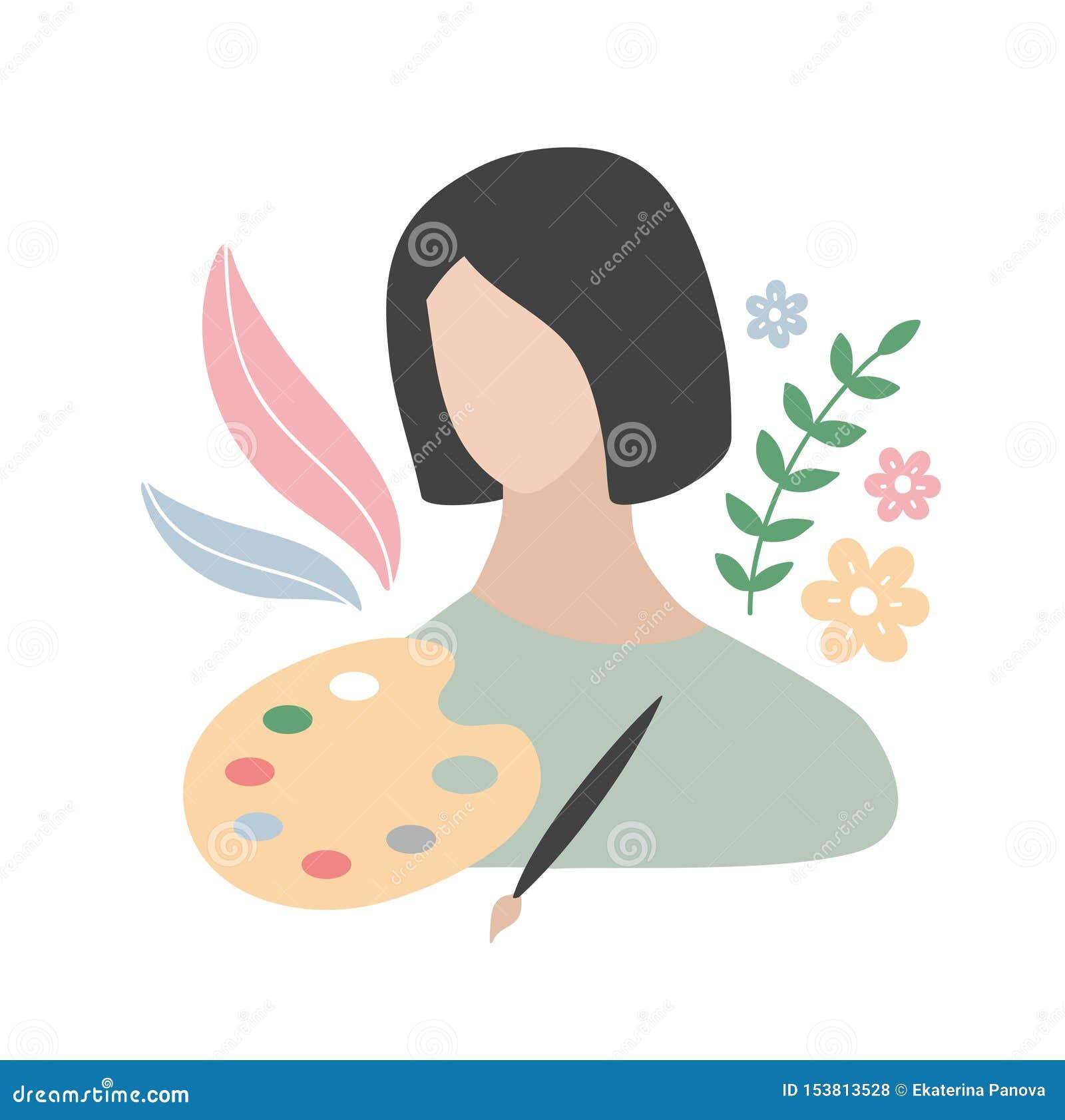 Den attraktiva unga kvinnan med hennes ockupationer anmärker - färgrik målarfärg och borsten