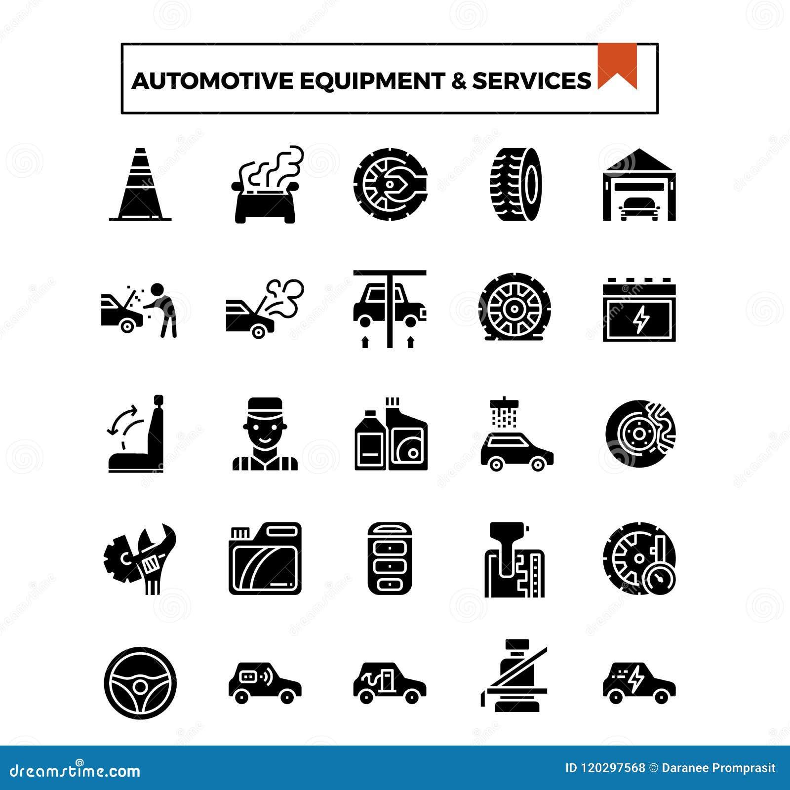 Den automatiska symbolen för utrustning- och serviceskåradesignen ställde in