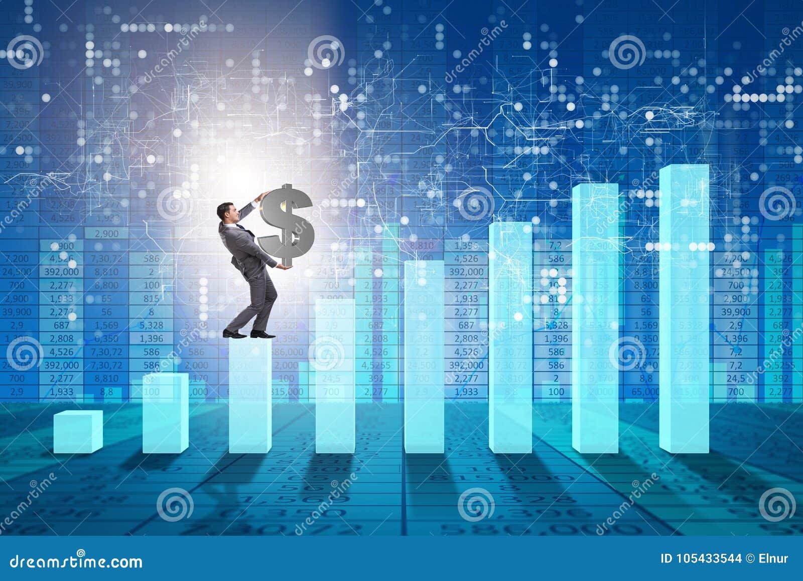 Den bärande dollaren för affärsmannen undertecknar in ekonomisk tillväxtbegrepp