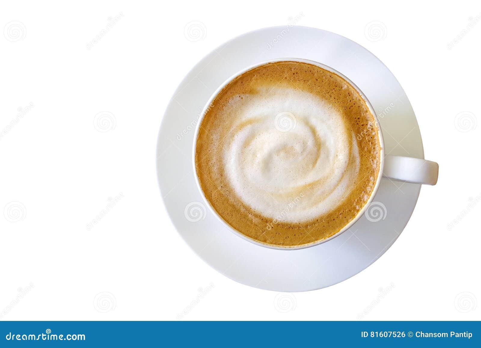 Den bästa sikten av den varma kaffecappuccinokoppen med mjölkar skum som isoleras på