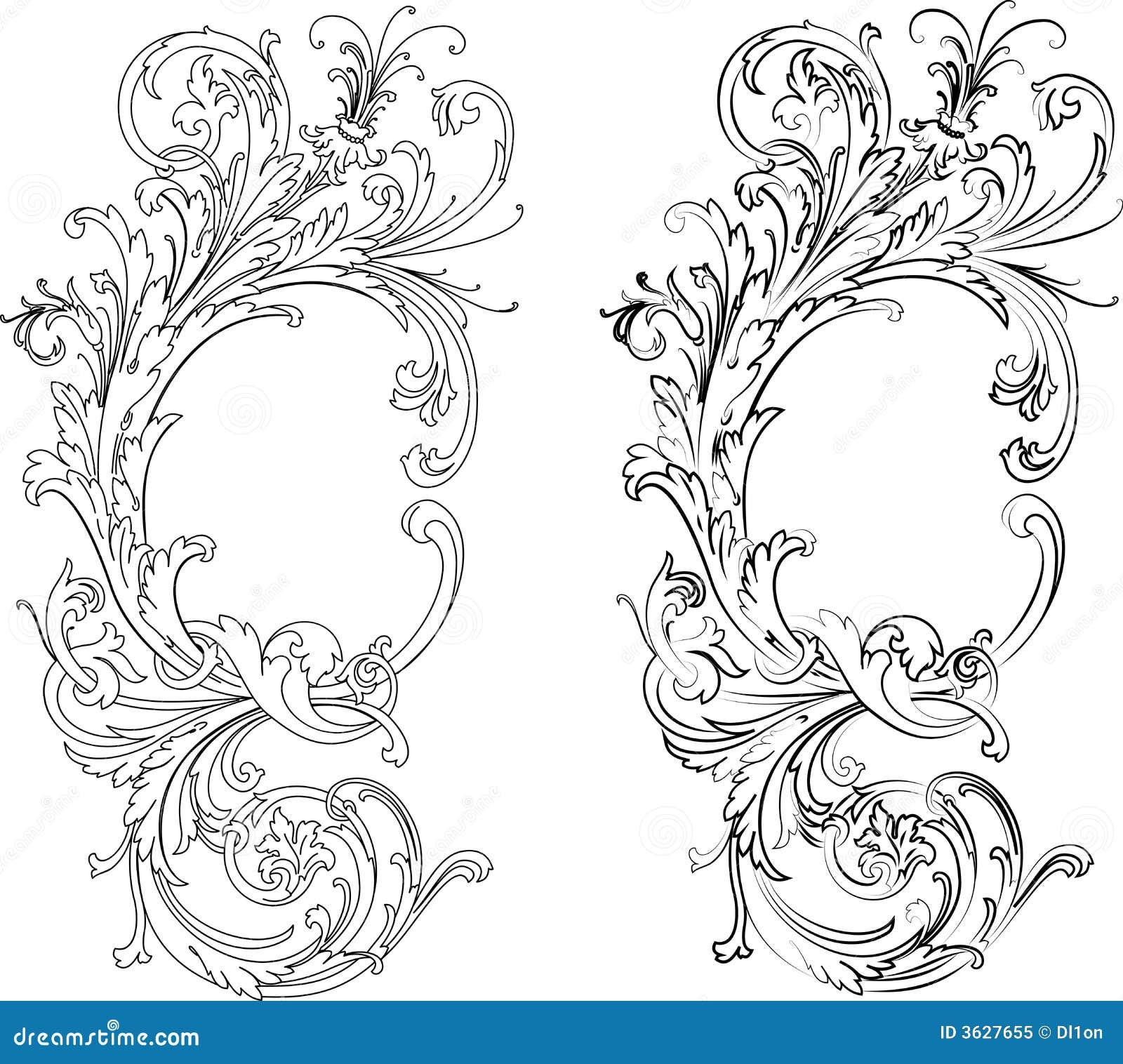Den barocka calligraphyen styles traditionella två