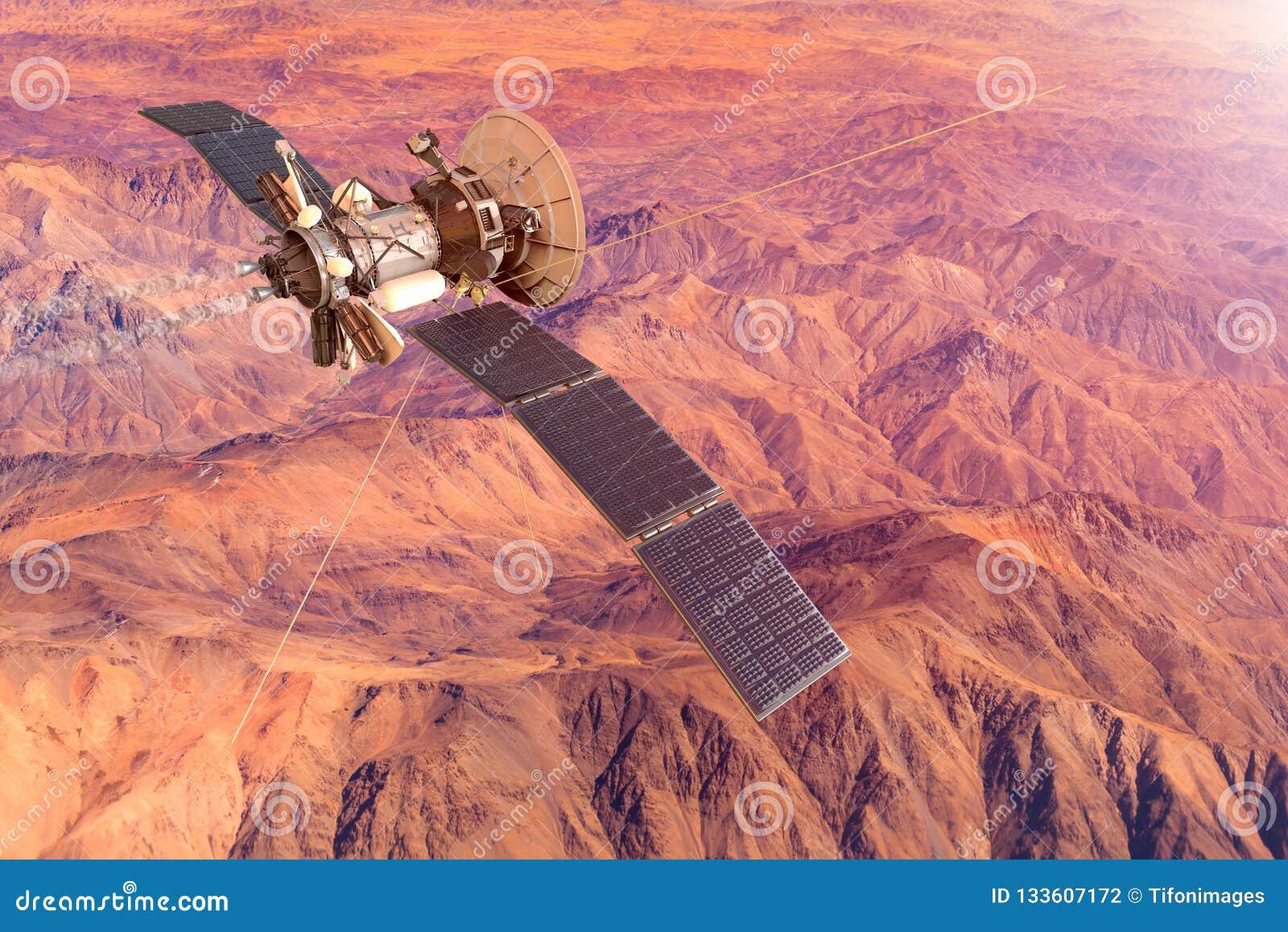 Den begreppsmässiga bilden av ett rymdskepp som undersöker, fördärvar