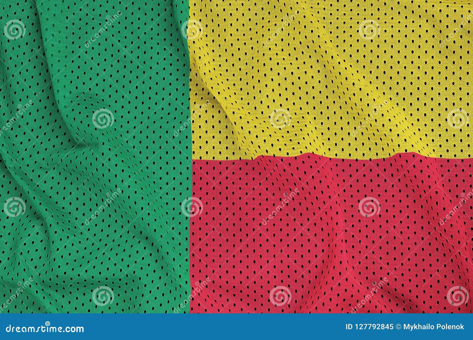 Den Benin flaggan skrivev ut på ett tyg för ingrepp för polyesternylonsportswear w