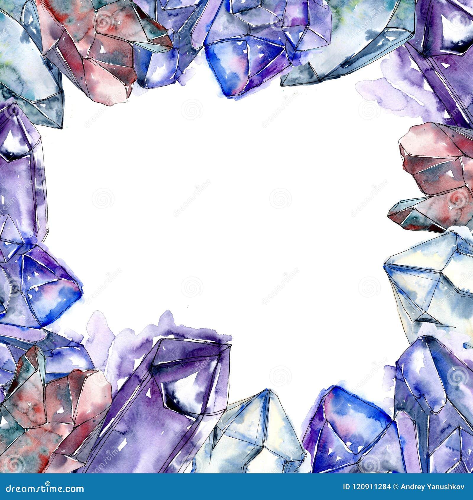 Den blåa diamanten vaggar smyckenmineral Fyrkant för ramgränsprydnad