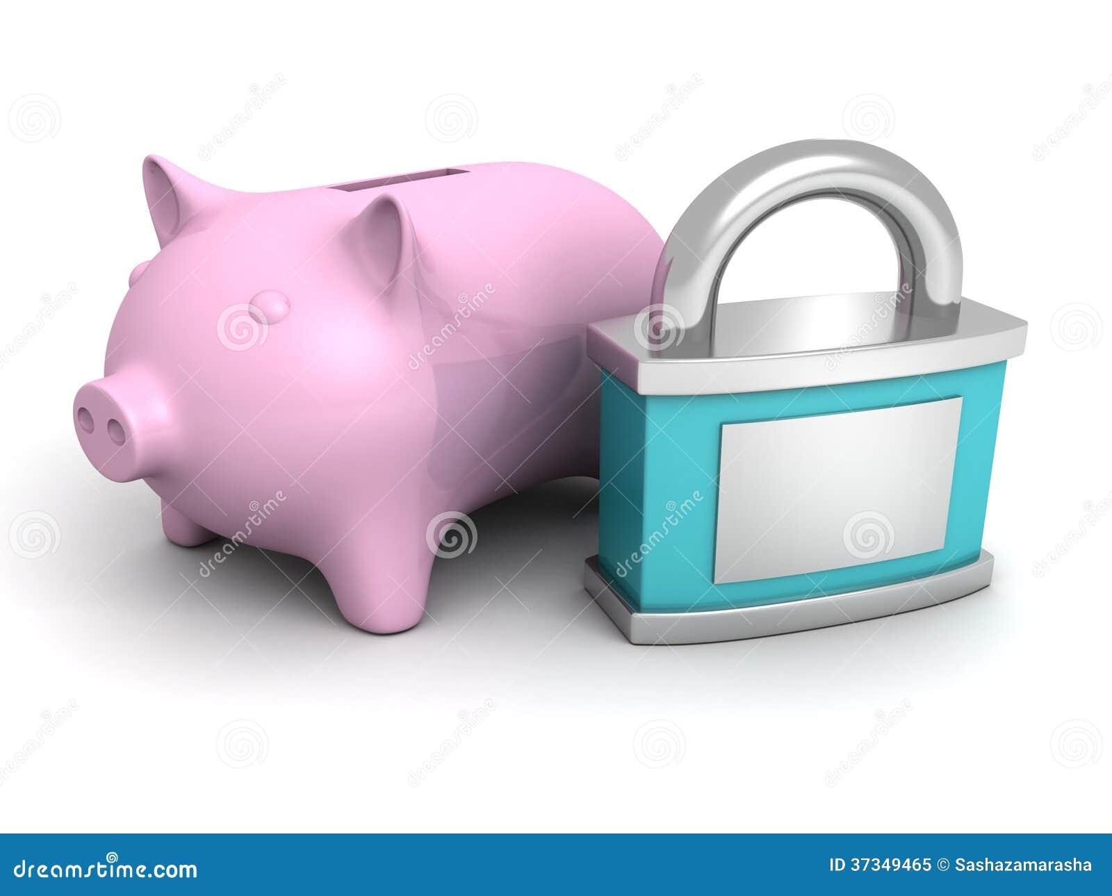 Den blåa säkerhetshänglåset och rosa piggy pengar packar ihop