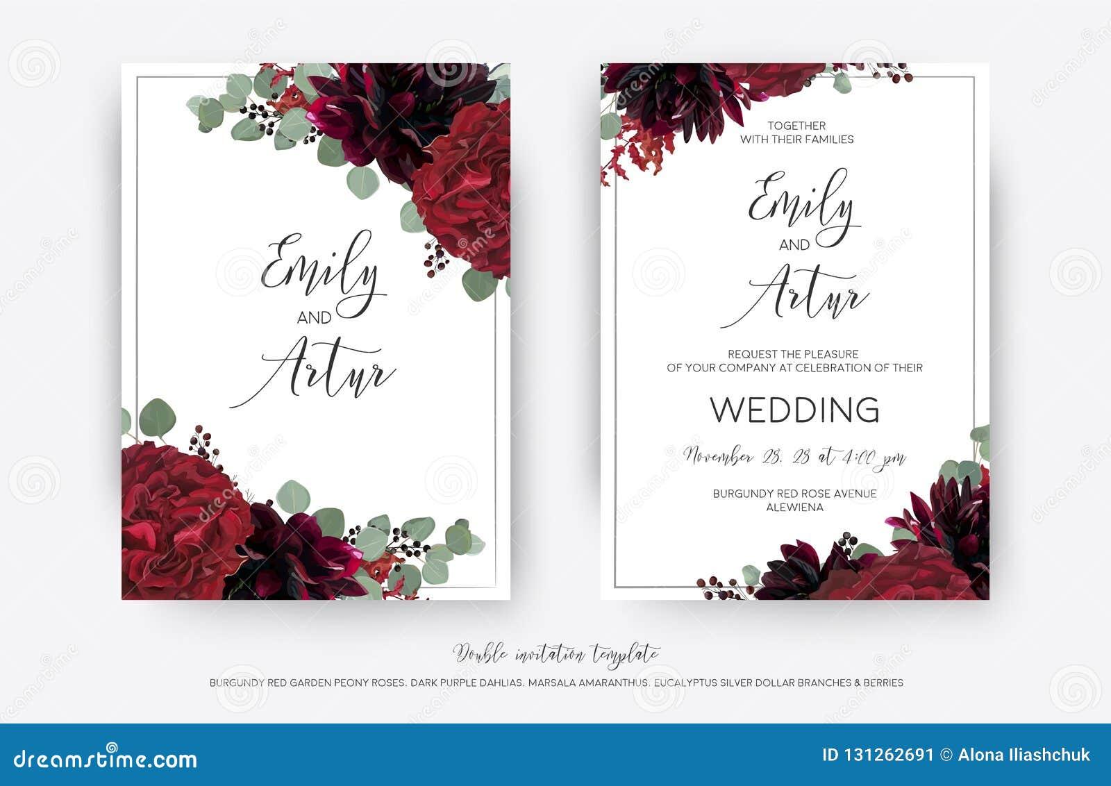 Den blom- bröllopvektorn inviterar, inbjudan sparar ändringen för datumkortet