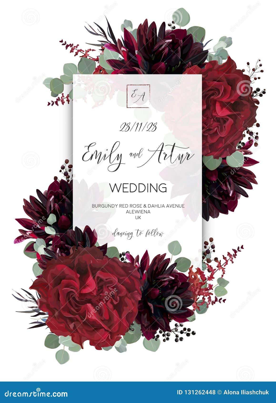 Den blom- bröllopvektorn inviterar, inbjudan sparar desien för datumkortet