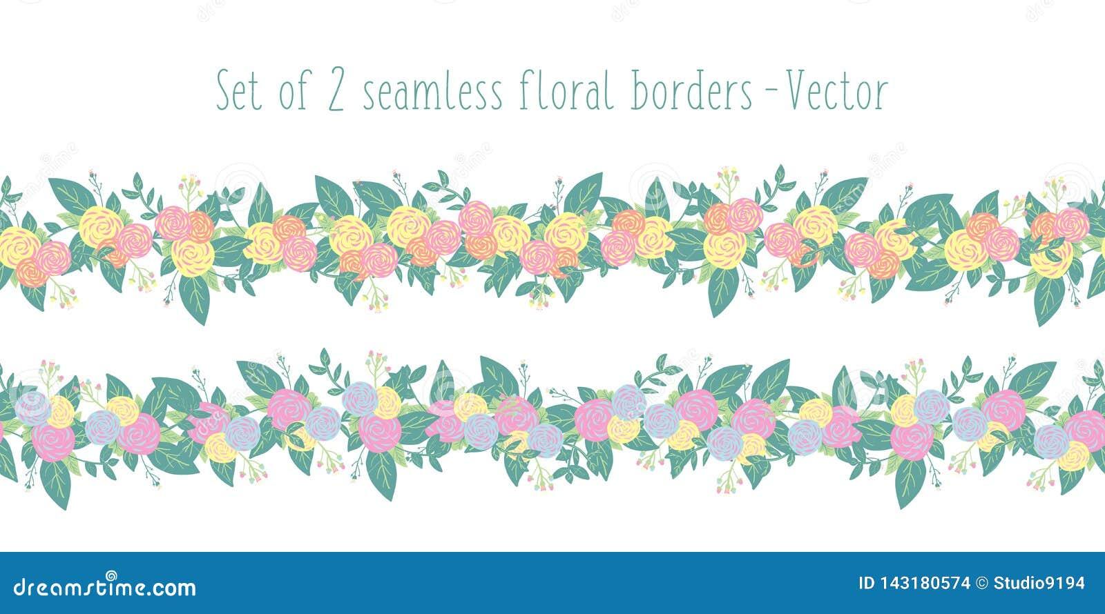 Den blom- gränsvektorn ställde in sömlöst med stiliserade blommor Rosa gula orange blått för vår- eller sommarblommagirland som ä