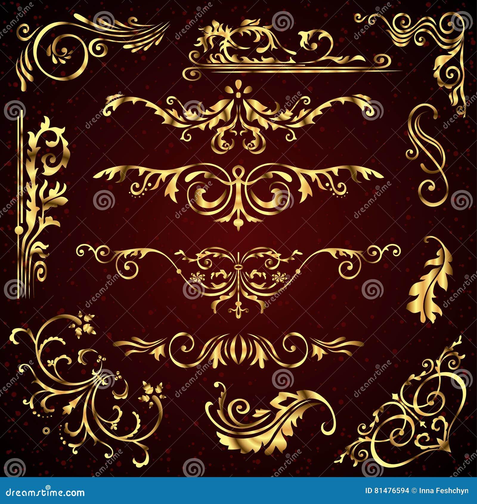 Den blom- vektoruppsättningen av guld- utsmyckade sidadekorbeståndsdelar gillar baner, ramar, avdelare, prydnader och modeller på