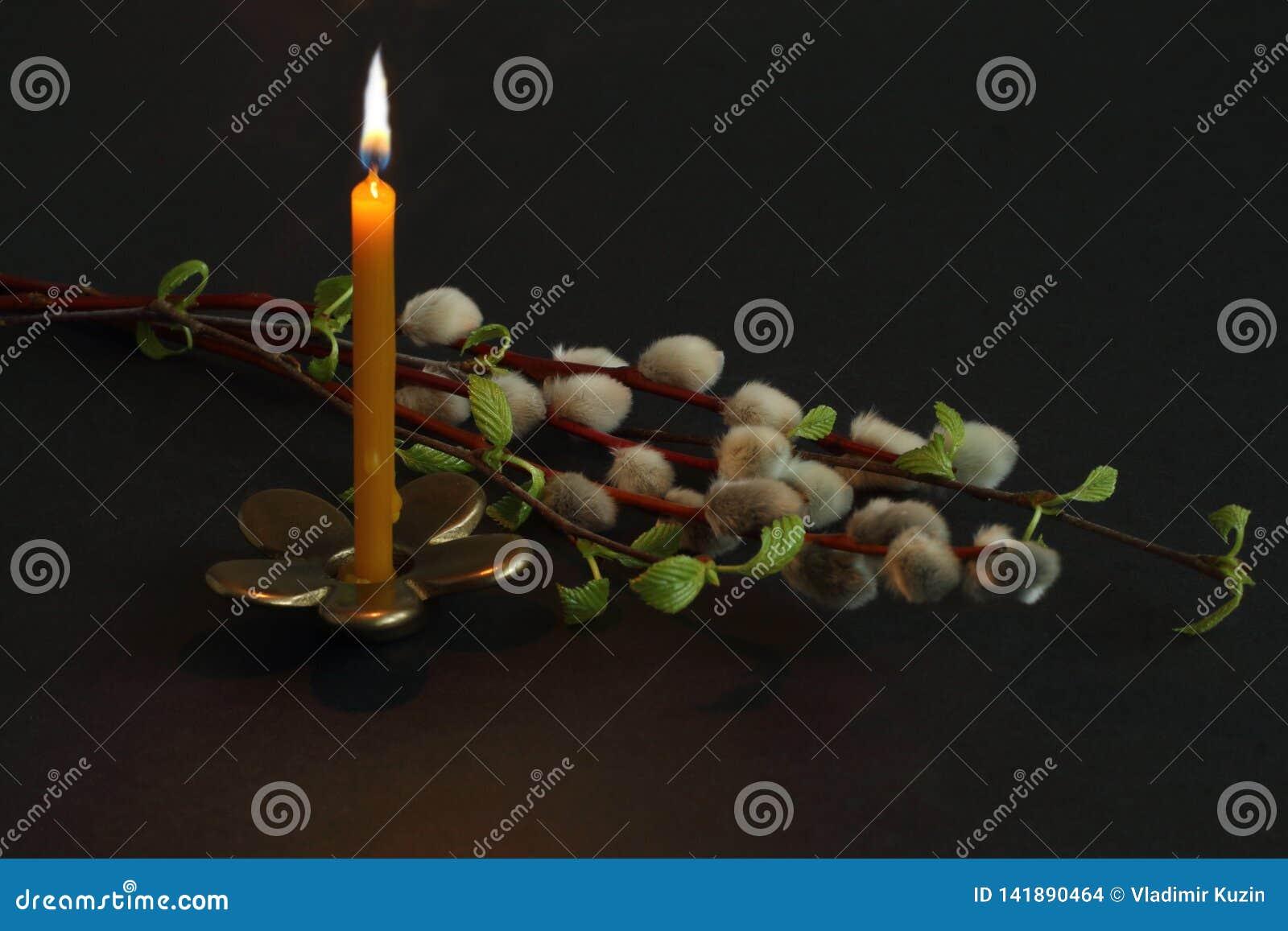 Den brännande stearinljuset på bronsljusstaken i form av blomman och pilen och björken fattar på mörk bakgrund Påsk för symbolisk