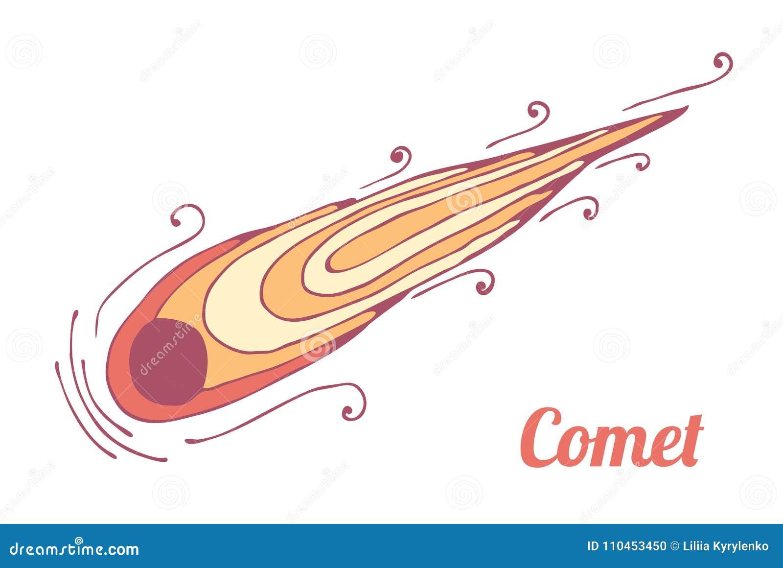 Den brinnande komet flyger Tema av utrymme och astronautik vektor