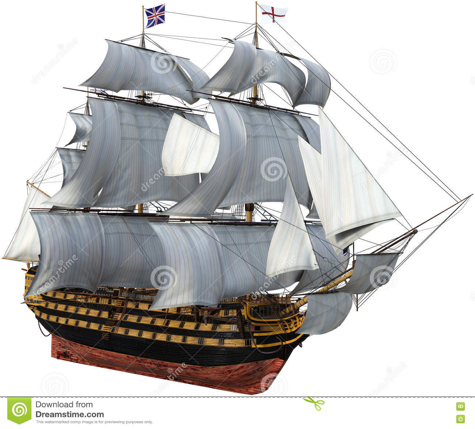 Den brittiska krigsskeppet som är högväxt seglar, isolerat