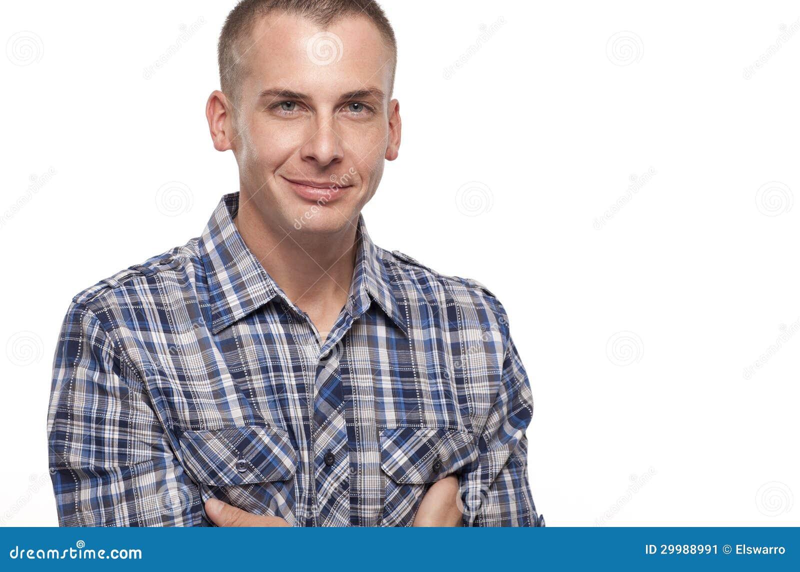 Headshot av en Caucasian manlig