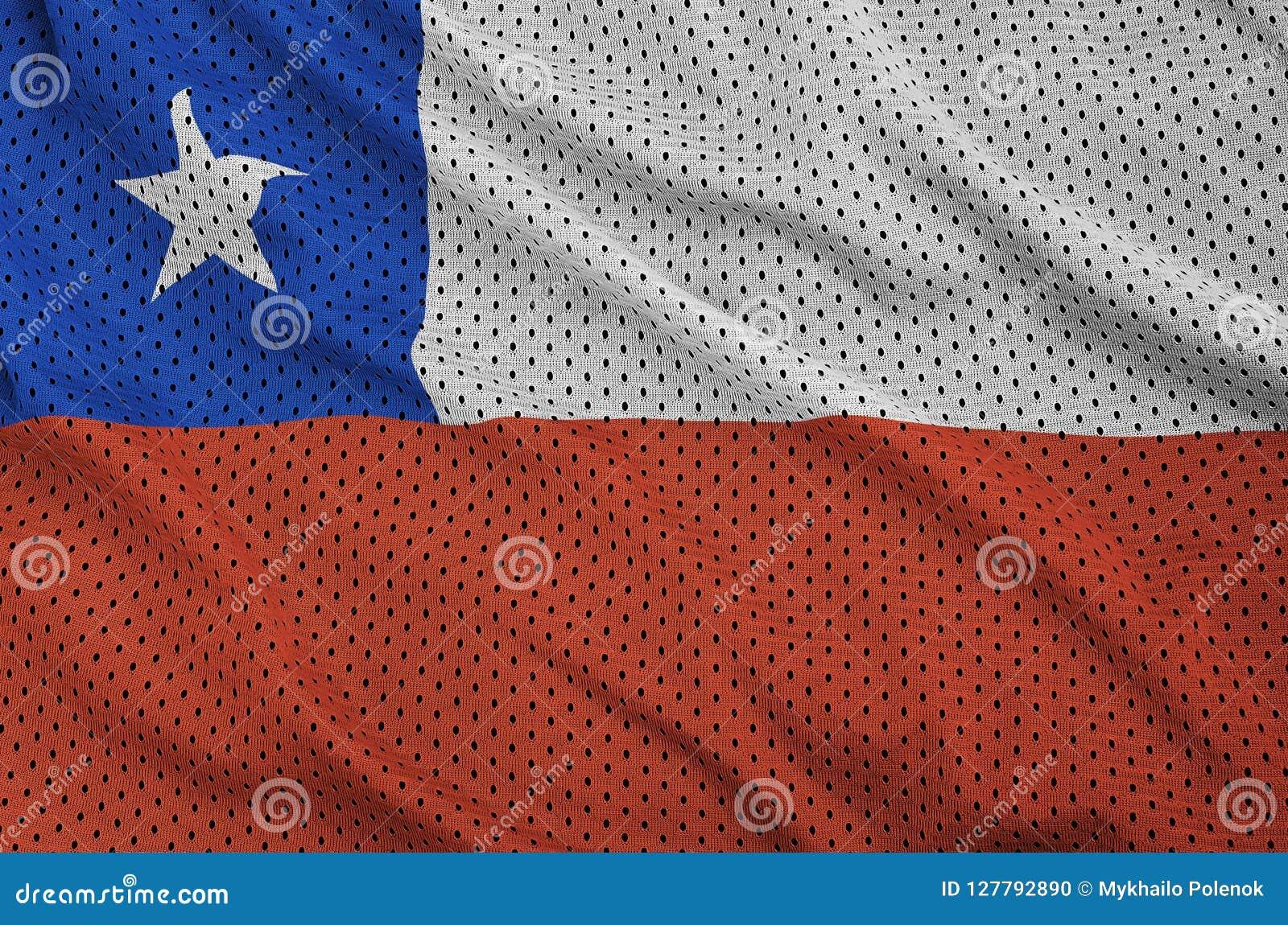 Den Chile flaggan skrivev ut på ett tyg för ingrepp för polyesternylonsportswear w