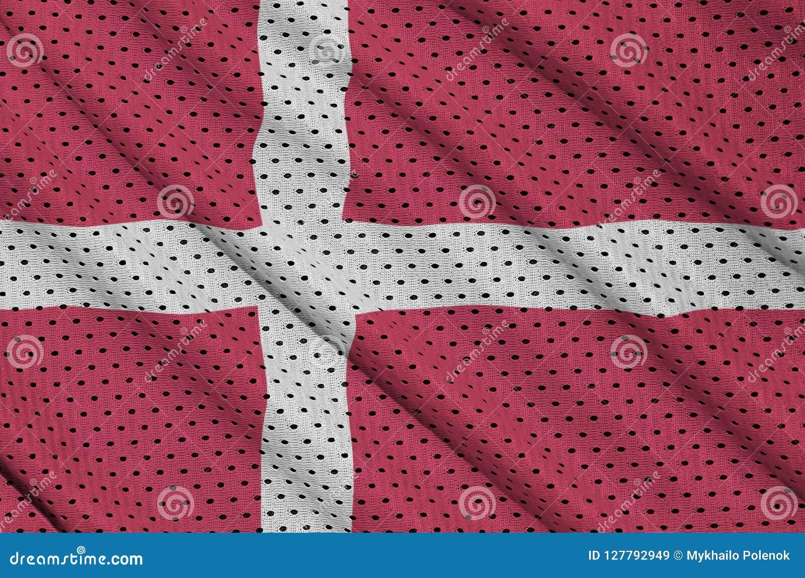 Den Danmark flaggan skrivev ut på ett tyg för ingrepp för polyesternylonsportswear