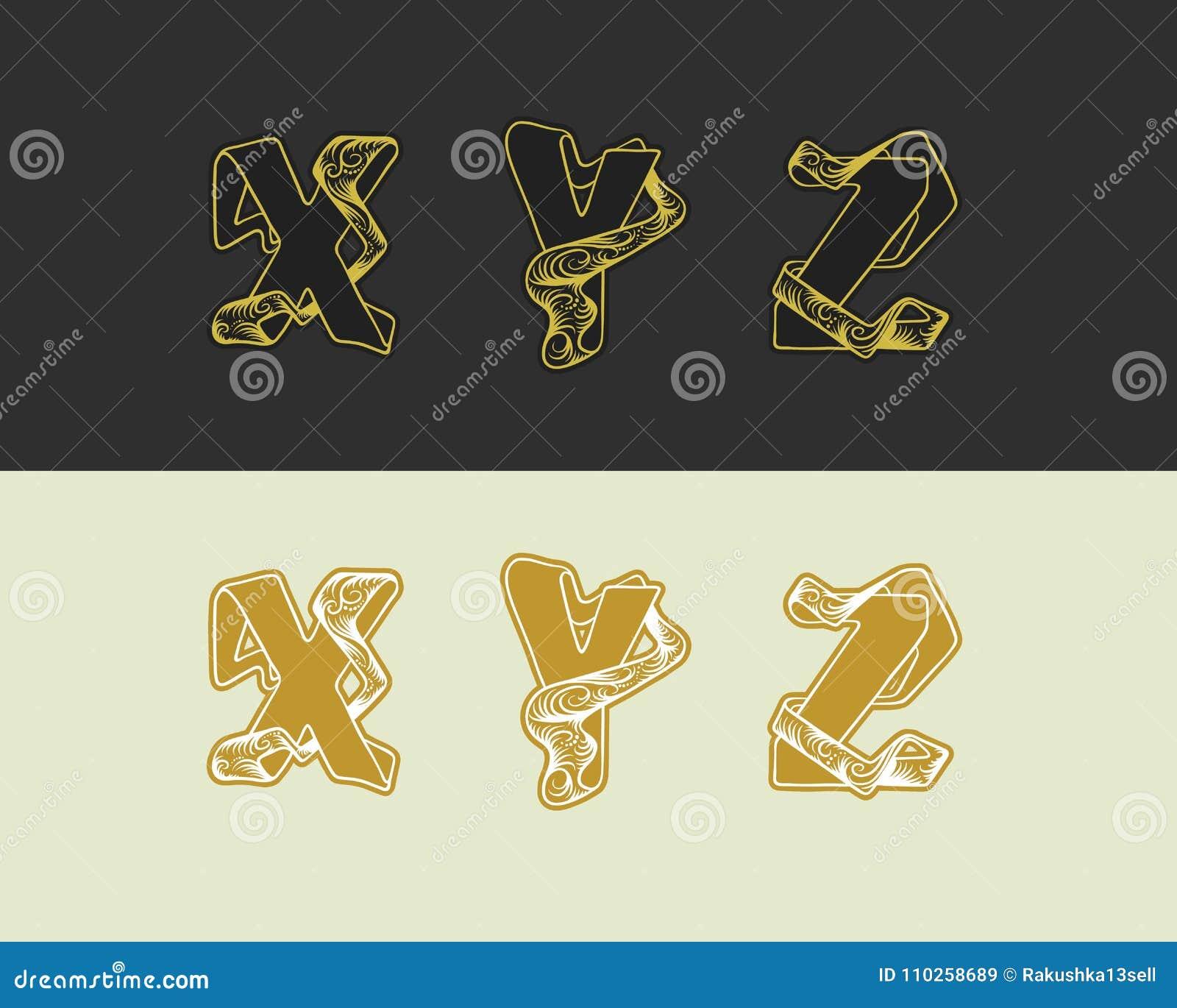 Den dekorativa vektorn skissar alfabetuppsättningen av uppercase bokstäver Guld- elegant bokstav X, Y, Z Stilsort av att gripa in